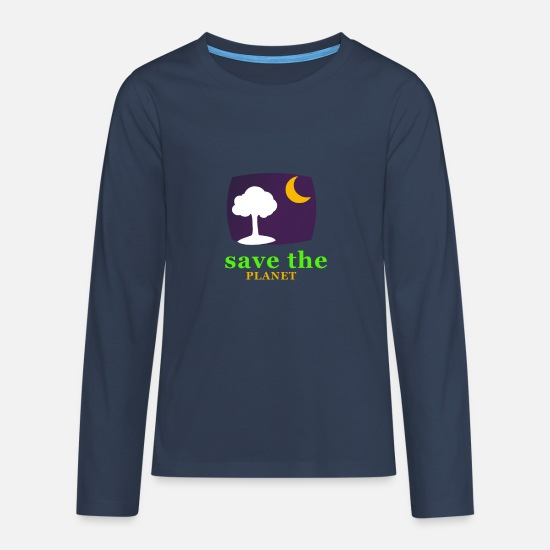 Planet Langarmshirts - save the planet - Teenager Premium Langarmshirt Navy