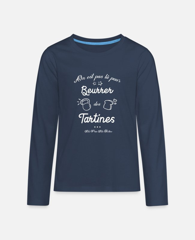 Weightlifting Long-Sleeved Shirts - Buttered toast - Teenage Premium Longsleeve Shirt navy
