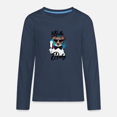 f483d2bb Champagneglass Hund Hei Baby - Tenårings premium langermet T-skjorte