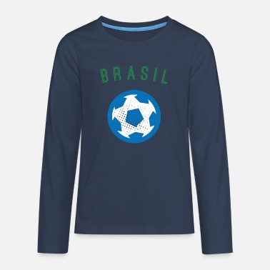 Brazil Football Men's Retro T-Shirt - Teenage Premium Longsleeve Shirt