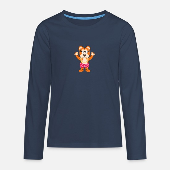 Swim Long sleeve shirts - Tiger vacation beach - Teenage Premium Longsleeve Shirt navy