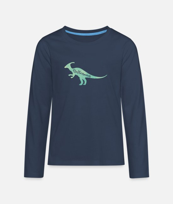 Dinosaurs Long-Sleeved Shirts - Brothersaurus - Teenage Premium Longsleeve Shirt navy