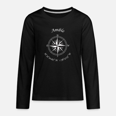 Northumberland Amble, Northumberland. Compass (white) - Teenage Premium Longsleeve Shirt