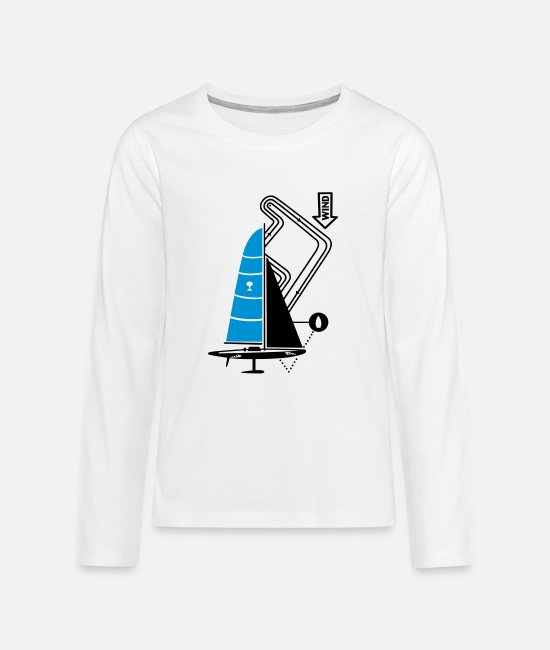 Water Long-Sleeved Shirts - technical sailing yacht no.3 the sportive - Teenage Premium Longsleeve Shirt white