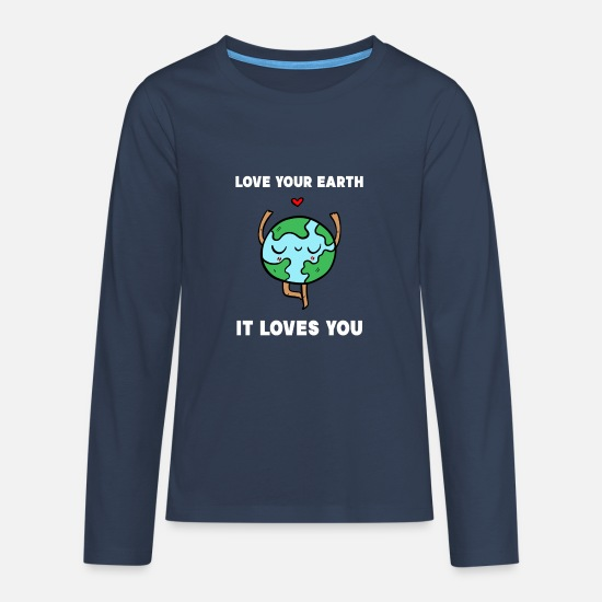 Milieu Shirts met lange mouwen - Earth World Planet Environment Nature Conservation Gift - Teenager premium longsleeve navy