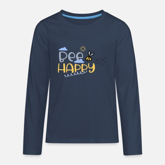 Bee Long sleeve shirts - Funny bee Bee Happy - flowers & sun - Teenage Premium Longsleeve Shirt navy