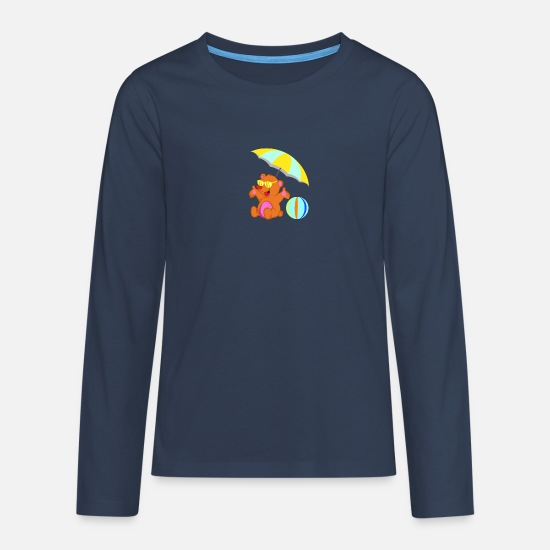 Sunglasses Long sleeve shirts - Beach bear summer - Teenage Premium Longsleeve Shirt navy