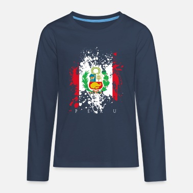 Peru South America Flag Banner Inca Country People Pride - Teenage Premium Longsleeve Shirt