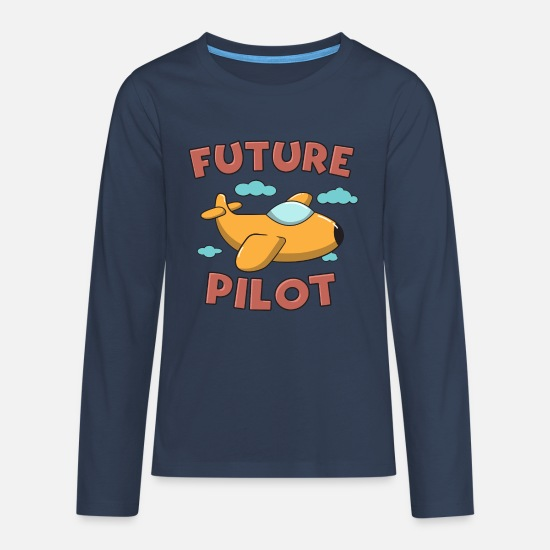 School Boys Long sleeve shirts - Future Pilot Gift - Teenage Premium Longsleeve Shirt navy