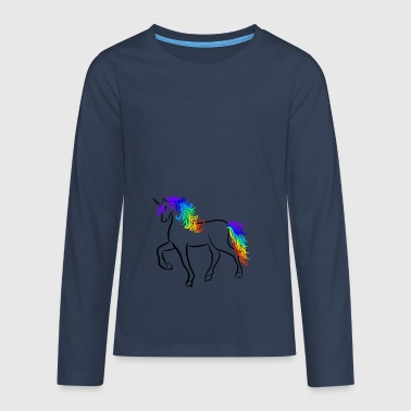 Unicorn Brushstroke Rainbow - T-shirt manches longues Premium Ado