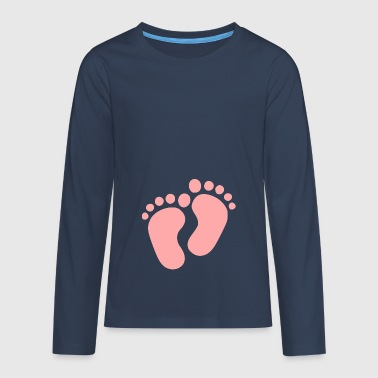 Footprint Footprints Baby feet pink feet - Teenagers' Premium Longsleeve Shirt