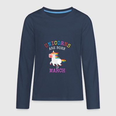 Unicorns er født i marts Funny Birthday Party - Teenager premium T-shirt med lange ærmer
