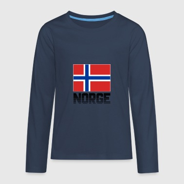 Norwegen Flagge Fahne Norge Nationalfarben Stolz - Teenager Premium Langarmshirt