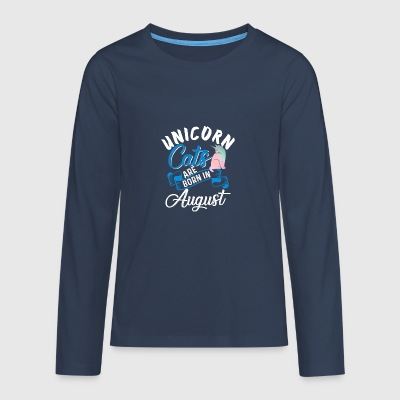 Unicorn Cats Are Born In August - Teenagers' Premium Longsleeve Shirt