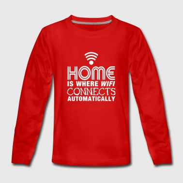 home is where the wifi connects automatically II2c - Teenager premium T-shirt med lange ærmer