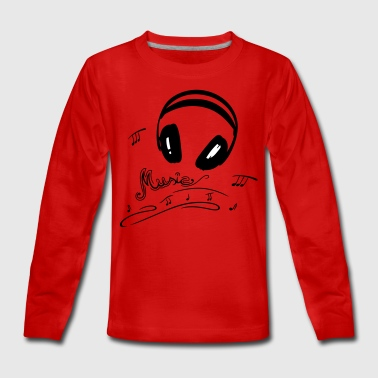 Retro microphone with headphones and music notes. - Teenagers' Premium Longsleeve Shirt