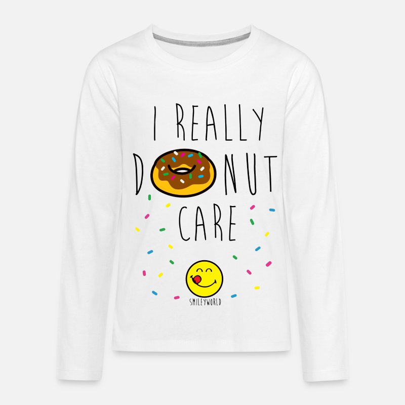 Officialbrands Long Sleeve Shirts - SmileyWorld Really Donut Care Humour Quote - Teenage Premium Longsleeve Shirt white