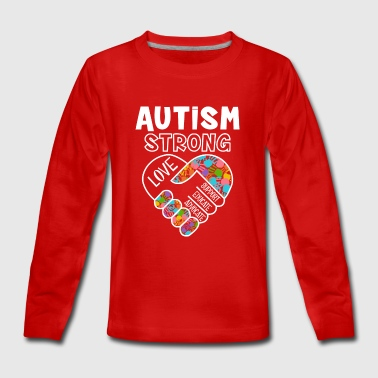 Autism strong love support educate advocate - Långärmad premium-T-shirt tonåring
