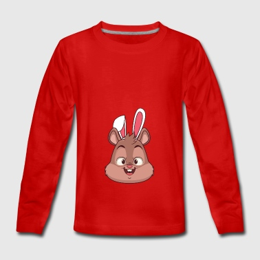 Squirrel Easter Bunny Happy Easter Gift Bunny - Teenagers' Premium Longsleeve Shirt