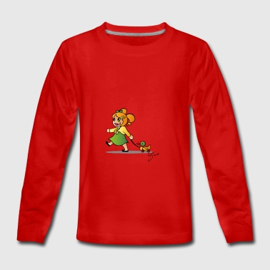 Girl with Duck - Teenagers' Premium Longsleeve Shirt