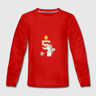Birthday Number 5 Prince Knight Horse Boy - Teenagers' Premium Longsleeve Shirt