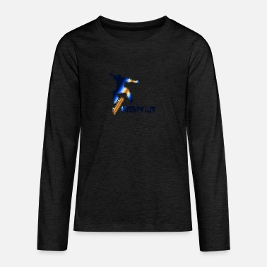 Kickflip Skateboarder, kickflip on a skateboard - Teenage Premium Longsleeve Shirt