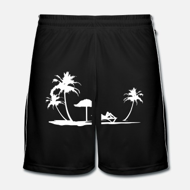 Silhouette Holiday Beach with Woman Silhouette on Beach Chair - Männer Fußball Shorts