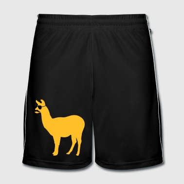 Funny llama with sunglasses and mustache - Short de football Homme