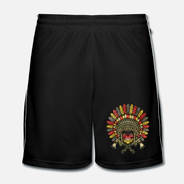 Nero Germany Football Indian Skull / Bones - Pantaloncini da calcio uomo