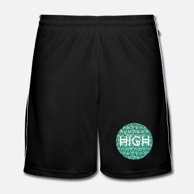 Musikk HIGH / cannabis Hipster Typo - Pattern Design  - Fotballshorts for menn