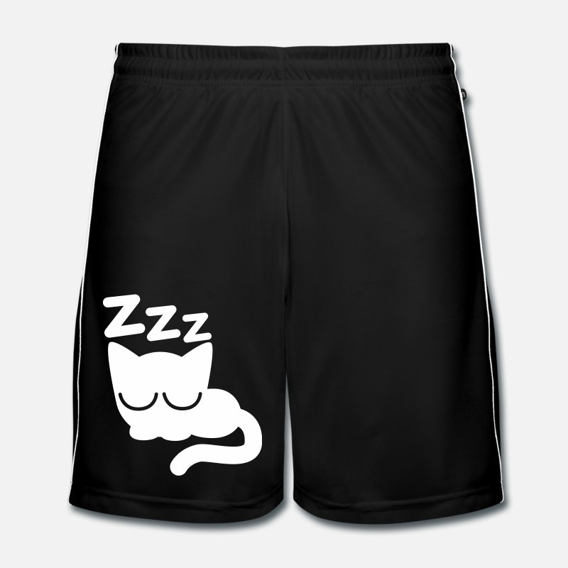 Flex Trousers & Shorts - Cute Sleeping Cartoon Cat by Cheerful Madness!! - Men's Football Shorts black/white