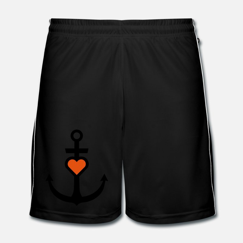 Anchor Trousers & Shorts - Anchor with heart - Men's Football Shorts black/white