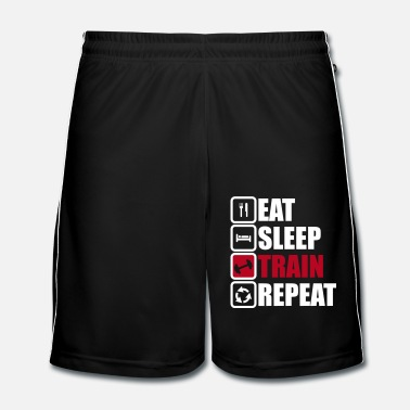 Übung eat sleep train repeat,gym,bodybuilding  - Männer Fußball Shorts