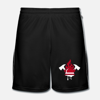Person A fireman helmet and fire ax - Men's Football Shorts