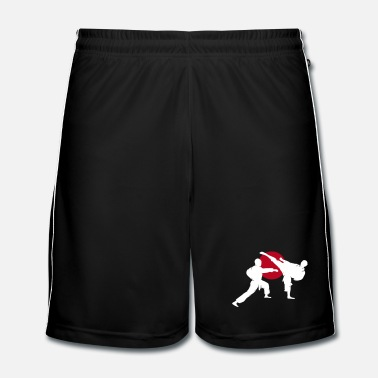 Silhouette two karate fighter  - Men's Football shorts