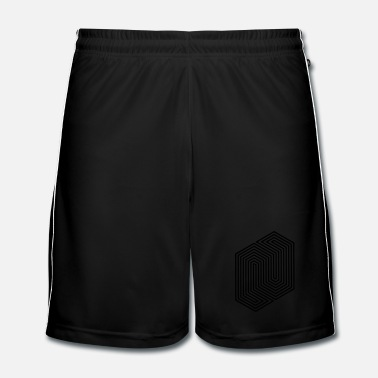 Zwart Optical Illusion (Impossible Minimal B & W Lines) - Mannen voetbal shorts