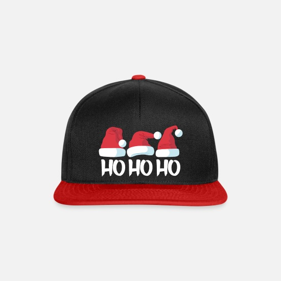 Christmas Caps & Hats - HO HO HO The three Christmas hats - Snapback Cap black/red