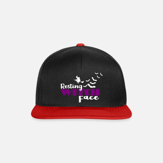 Witches Broom Caps & Hats - Halloween witch witch ghosts - Snapback Cap black/red