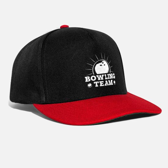 Gift Idea Caps & Hats - Bowling Team Bowler Pins Bowling Ball Cone Split - Snapback Cap black/red