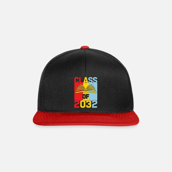Grow Caps & Hats - Class Of 2032 Grow With Me Graduation First Day Of - Snapback Cap black/red