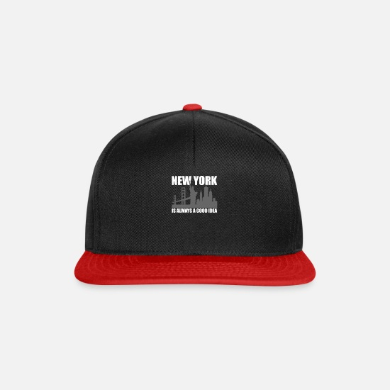 Gift Idea Caps & Hats - New York City is always a good idea gift trip - Snapback Cap black/red