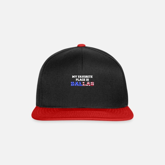 Usa Caps & Hats - DALLAS flag USA gift idea saying - Snapback Cap black/red