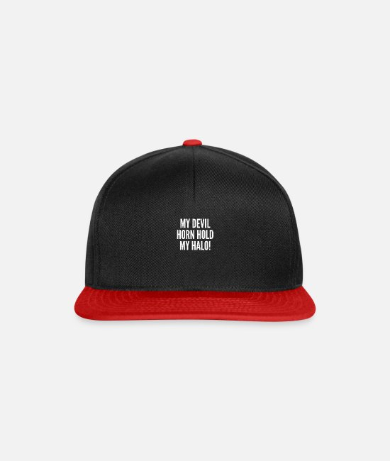 Lucifer Caps & Hats - MY DEVIL HORN HOLD MY HALO! - Snapback Cap black/red