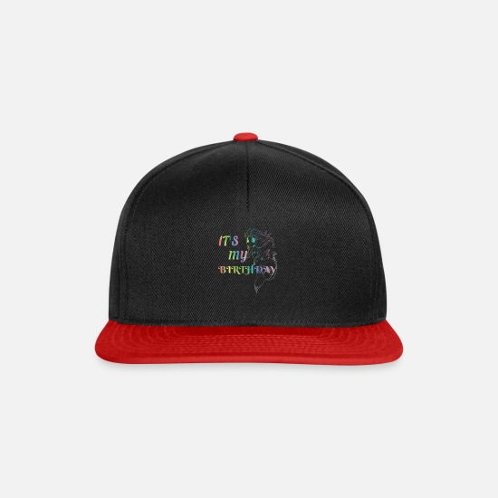 Birthday Caps & Hats - Mermaid Birthday Mermaids Party Girl Bday Gift - Snapback Cap black/red