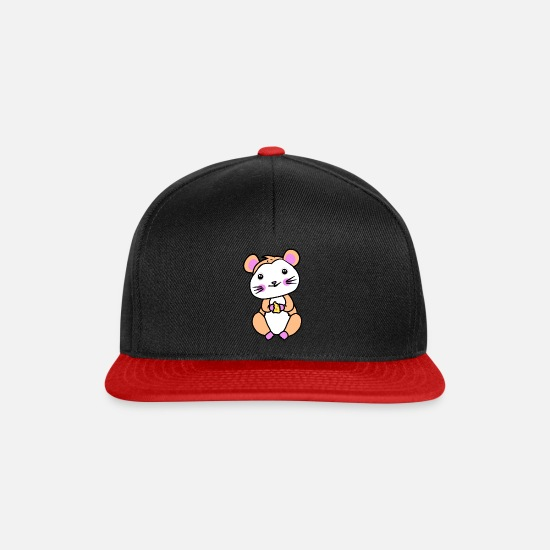 Pet Caps & Hats - Hamster rodent fantasy children hunger - Snapback Cap black/red