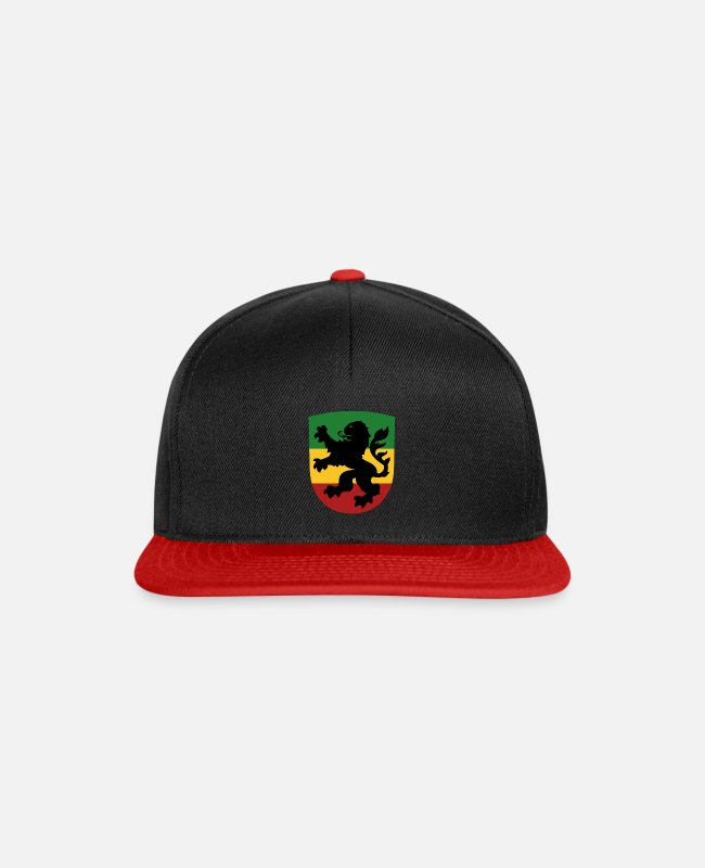 Rastafari Caps & Hats - Löwenwappen - Snapback Cap black/red
