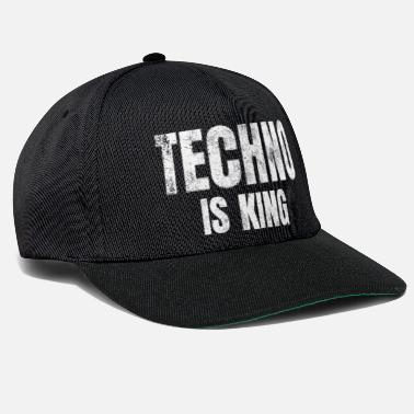Techno Bass Techno is king Raver Festival Electro Dance Music - Snapback Cap