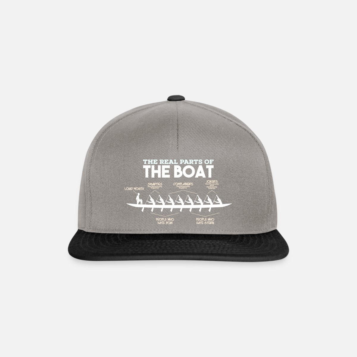 Parts of a Boat - rowing rowing rower canoe boat Snapback Cap -  graphite/black