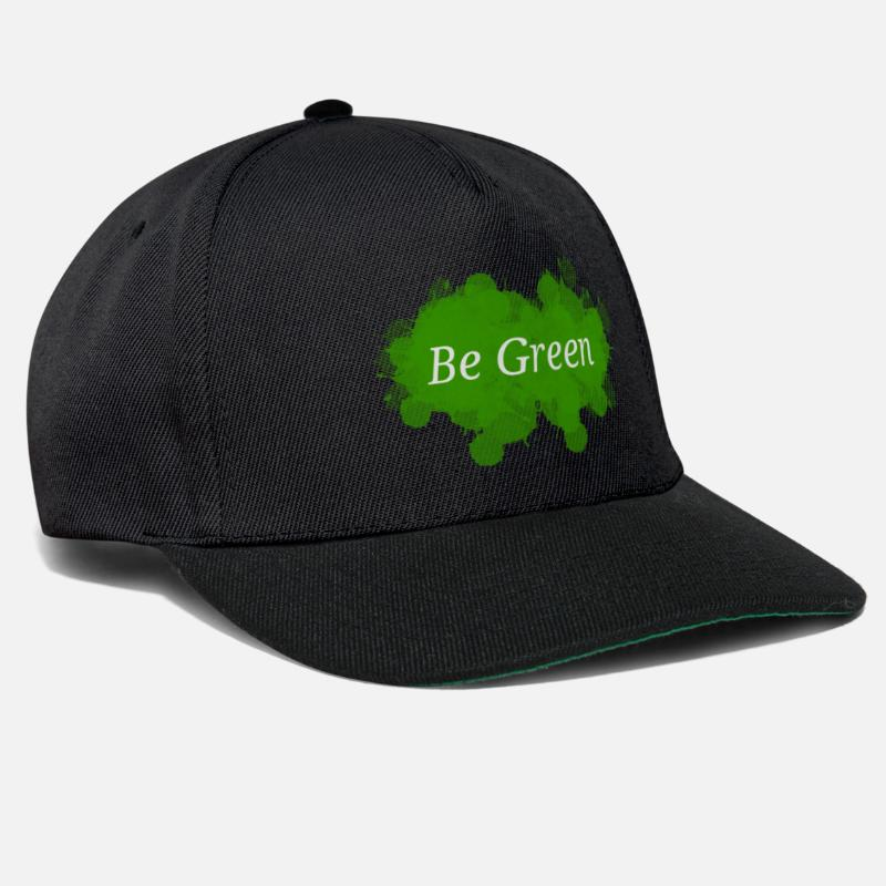 Eco Caps & Hats - Be Green Splatter - Snapback Cap black/black