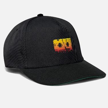 School Audio Cassette Music Retro Icon Washed Yellow - Snapback Cap